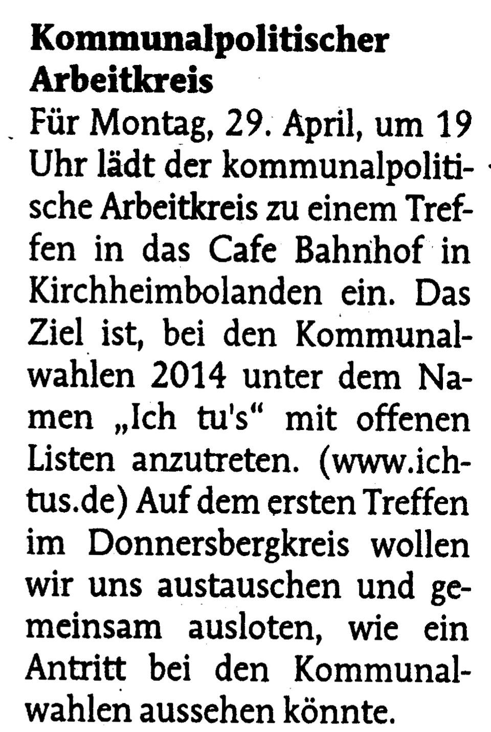 Offenes Treffen des kommunalpolitischen Arbeitskreises @ Café Bahnhof Kirchheimbolanden | Kirchheimbolanden | Rheinland-Pfalz | Deutschland
